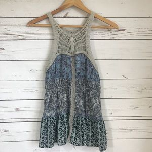 FREE PEOPLE SMALL CROCHET LAYERED FLORAL TANK TOP